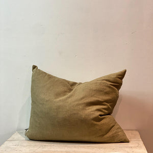 Cushion Handwoven Linen Olive