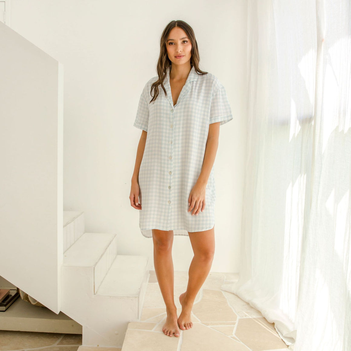 Sleepwear Shirt Dress Ivy Blue Gingham