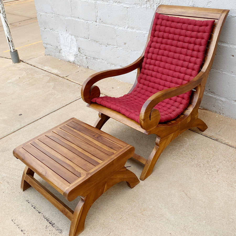 Chair Lazy Teak Wood with Foot Stool