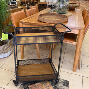 Bar Cart Wood Iron