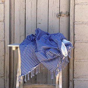 Throw 100% Cotton Stripe Blue