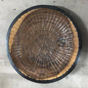 Plate Wood 50cm Teak with Black Base