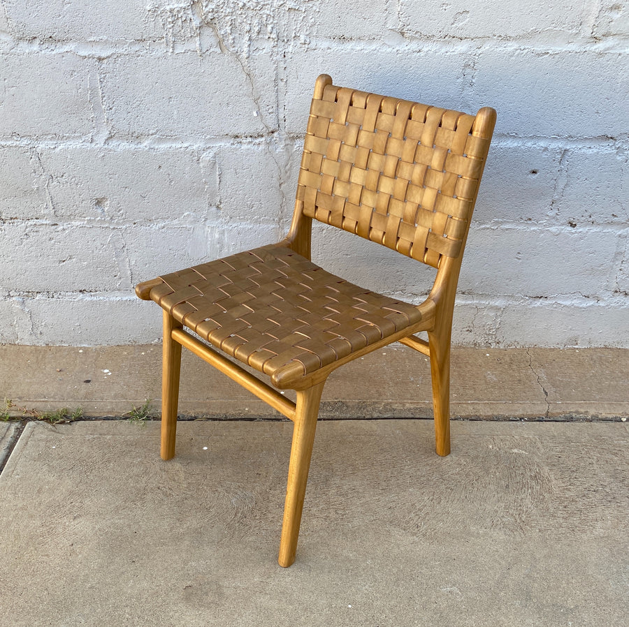 Dining Chair Leather Woven Walnut