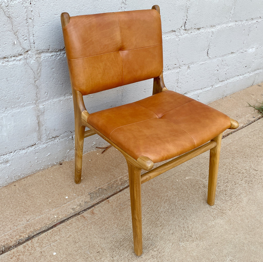 Dining Chair Leather Padded Camel