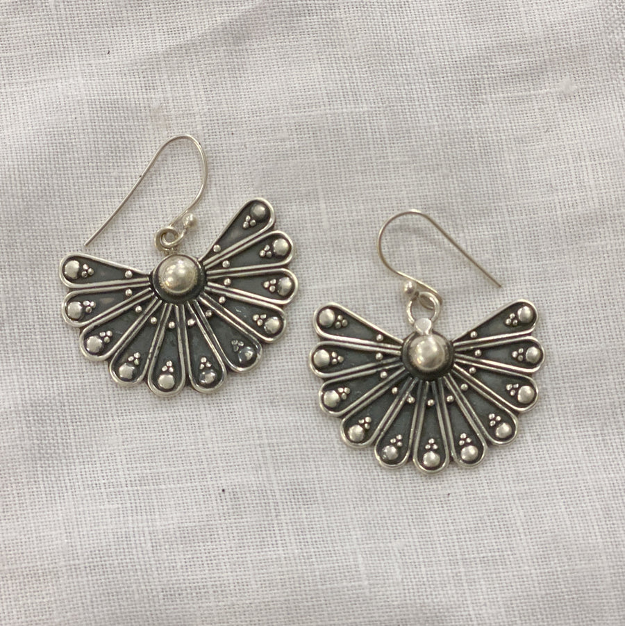 Earring Sterling Silver Peacock Tail