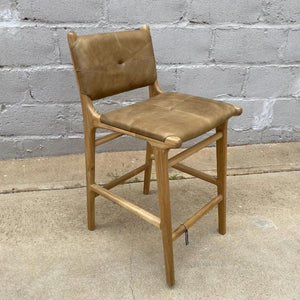 Bar stool Leather Padded 65cm Walnut