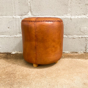 Ottoman Leather Round Full
