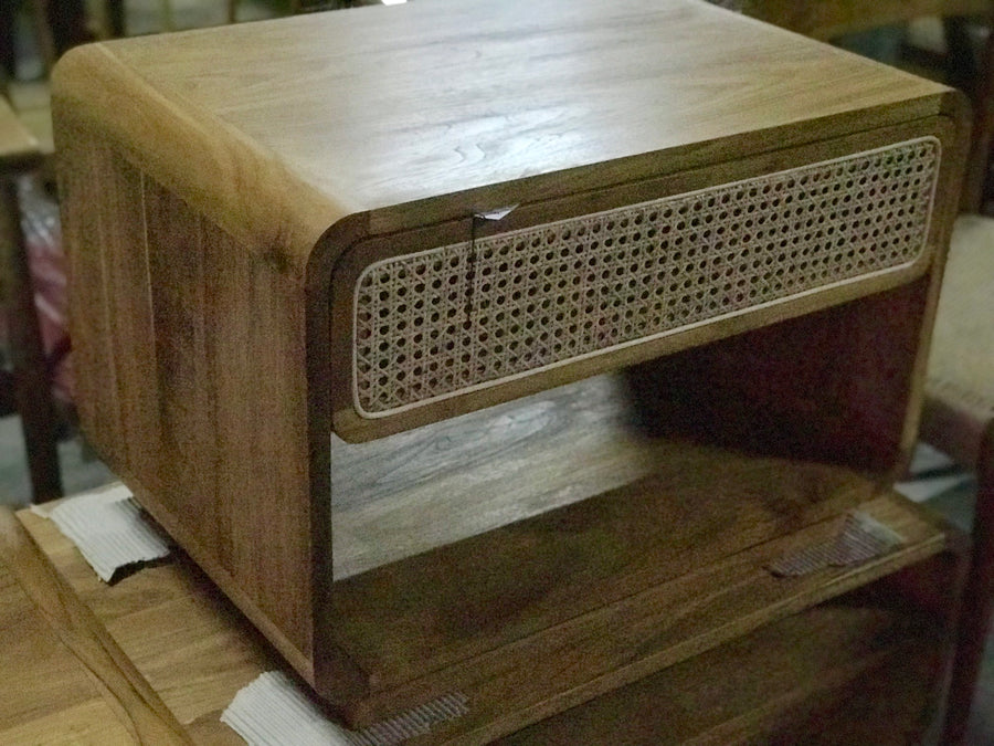 Bedside Retro Wide Rattan Drawer