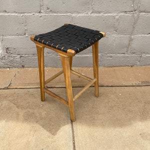 Bar Stool Leather 65cm Black Weave
