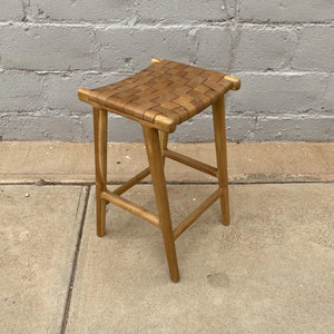 Bar Stool Leather 75cm Tan Weave