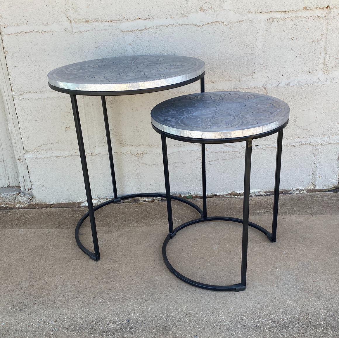 Side Table set of 2 Iron Work