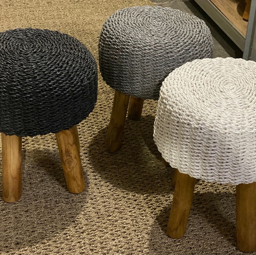 Ottoman Stool Rattan with Wooden Legs