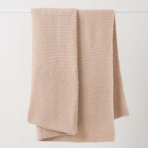 Throw Knit Wool Rice