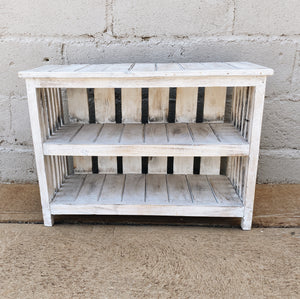 Bookcase White Wood Wide
