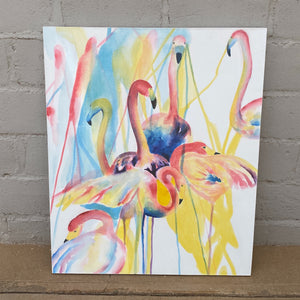 Art 100 x 120cm Flamingoes