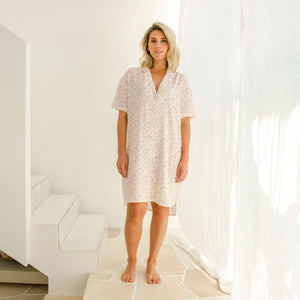 Sleepwear Shirt Dress Coral Scallop