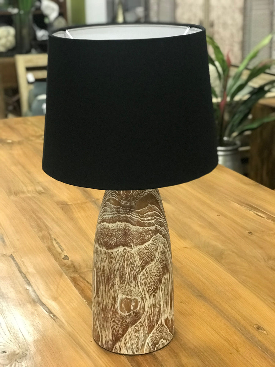 Lamp Wood Base Curve Top