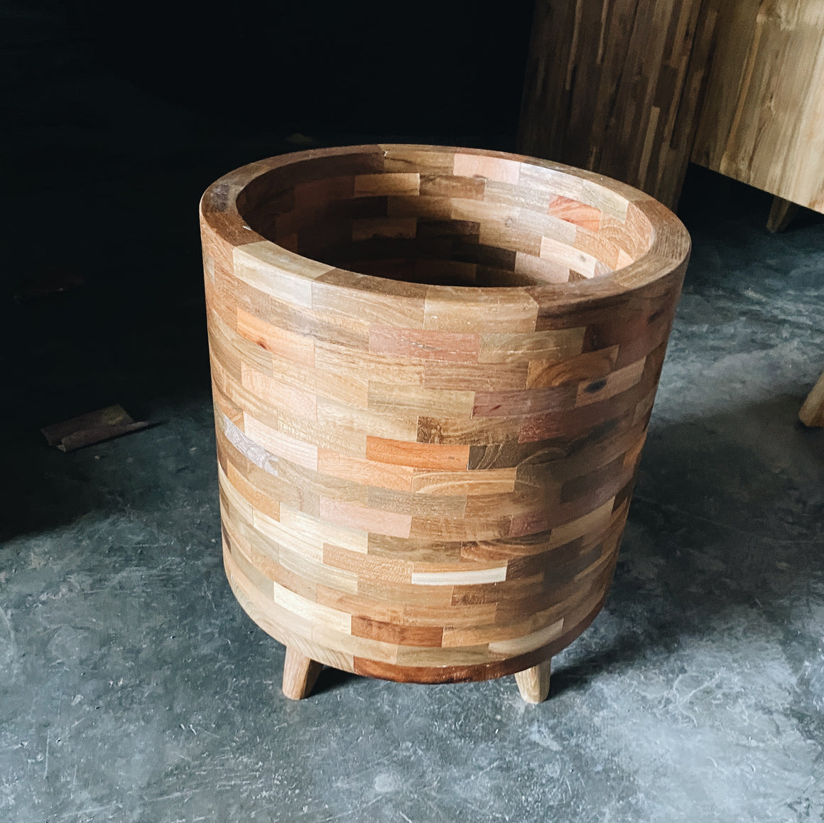 Planter Pot Teakwood Mosaic