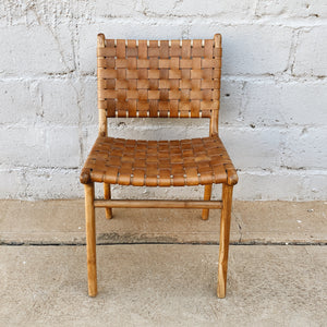 Dining Chair Leather Woven Tan
