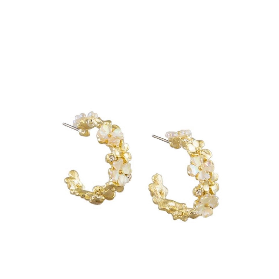 Earring White Flower Hoops