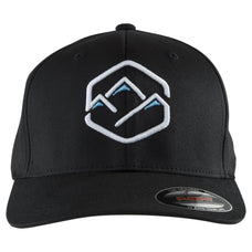 men's black baseball hat mountain peaks logo
