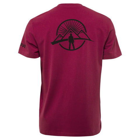 snowboarding t shirt crimson color back side of the tee