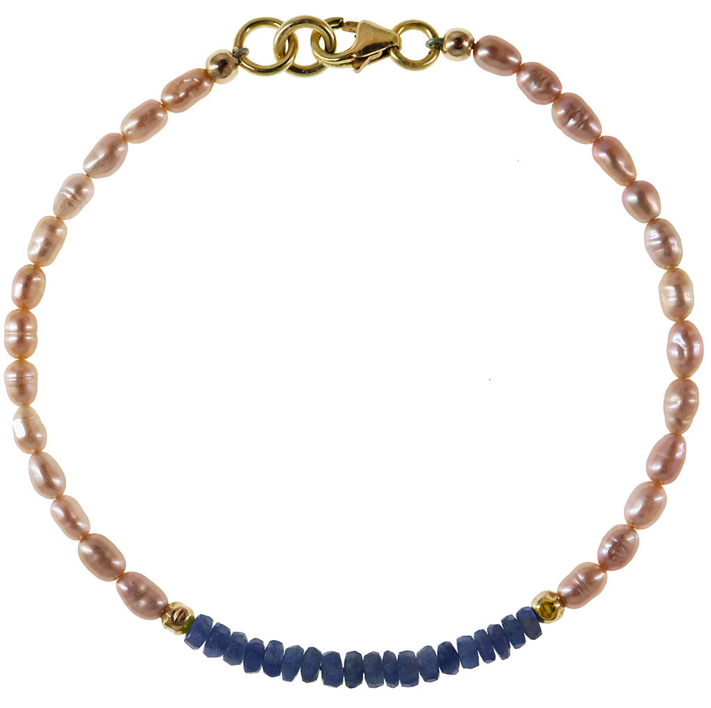 Sapphire Sparked Bracelet | Blue Sapphire and Pearl