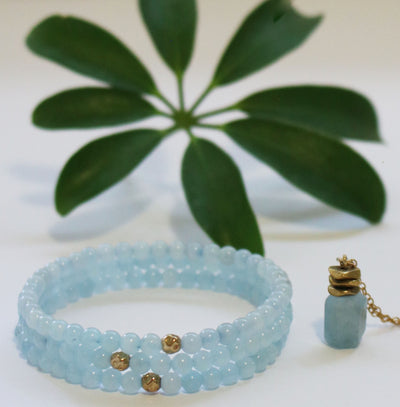 Dainty Nautical and Nice Bracelet | Aquamarine and 14K Gold