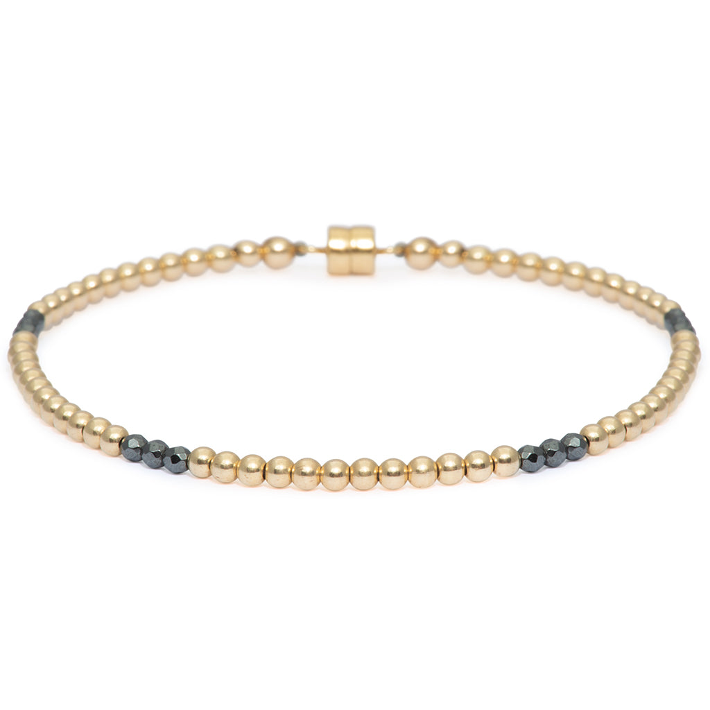 Dainty Golden Clarity Bracelet | 14K Gold and Hematite