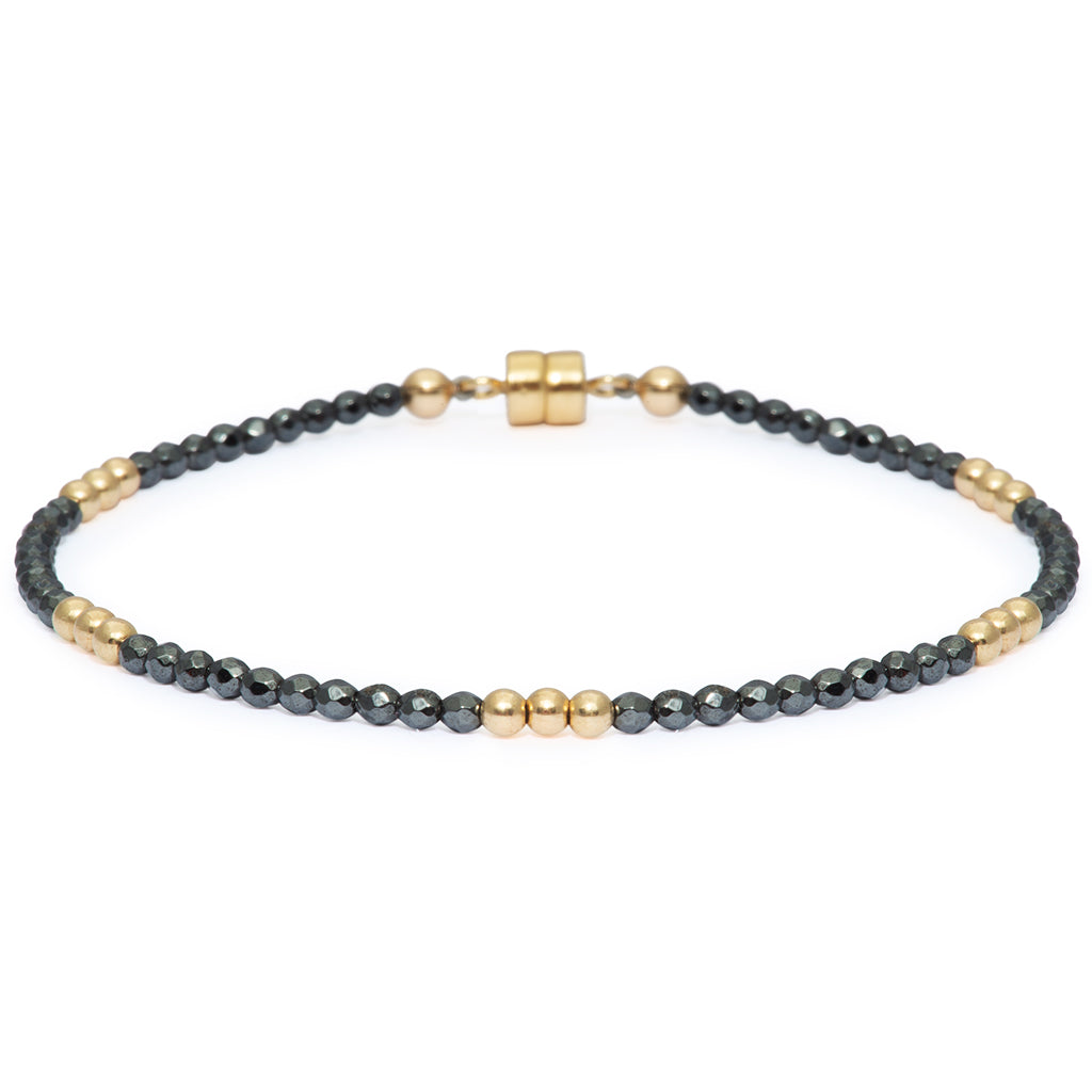 Dainty Gold-Dusted Clarity Bracelet | Hematite and Gold
