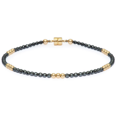 Dainty Gold-Dusted Clarity Bracelet | Hematite and 14K Gold