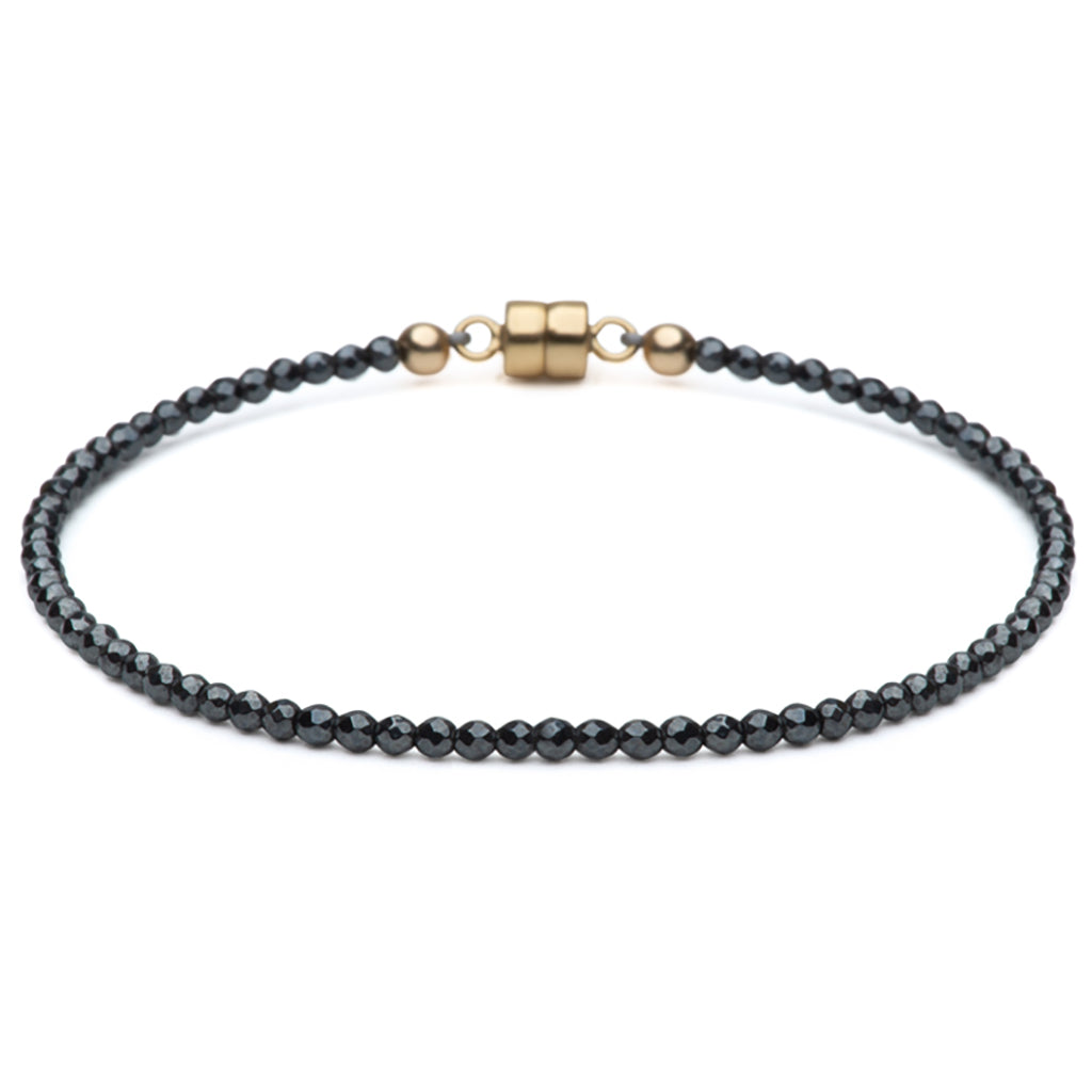 Dainty Clarity Bracelet | Hematite and 14K Gold