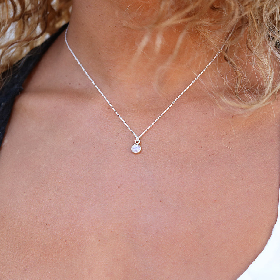 Charmed by Intuition Mini Necklace | Moonstone and Silver