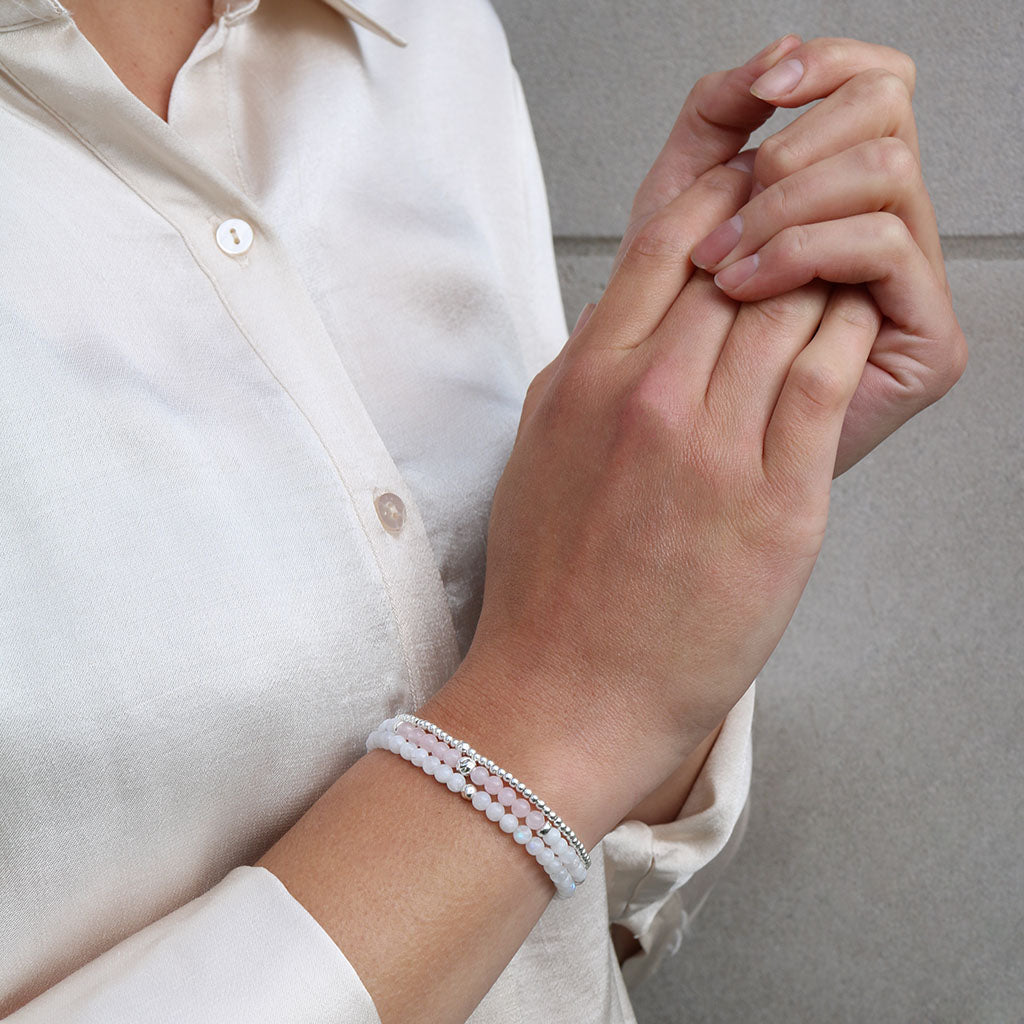 Dainty Leading with the Heart Bracelet Set | Rose Quartz & Moonstone