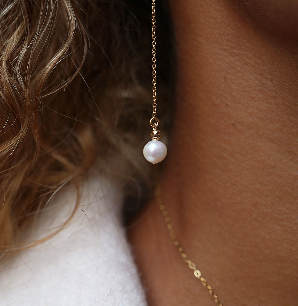 Wisdom Drop Earrings | Pearl and Gold
