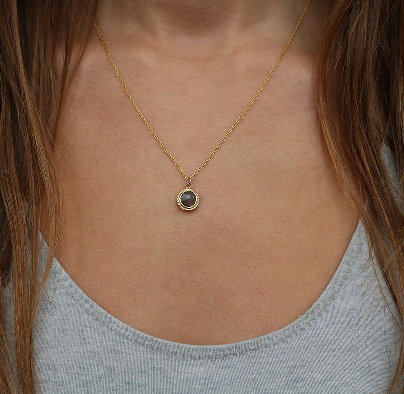 Black Solstice Necklace | Black Rutilated Quartz and Gold
