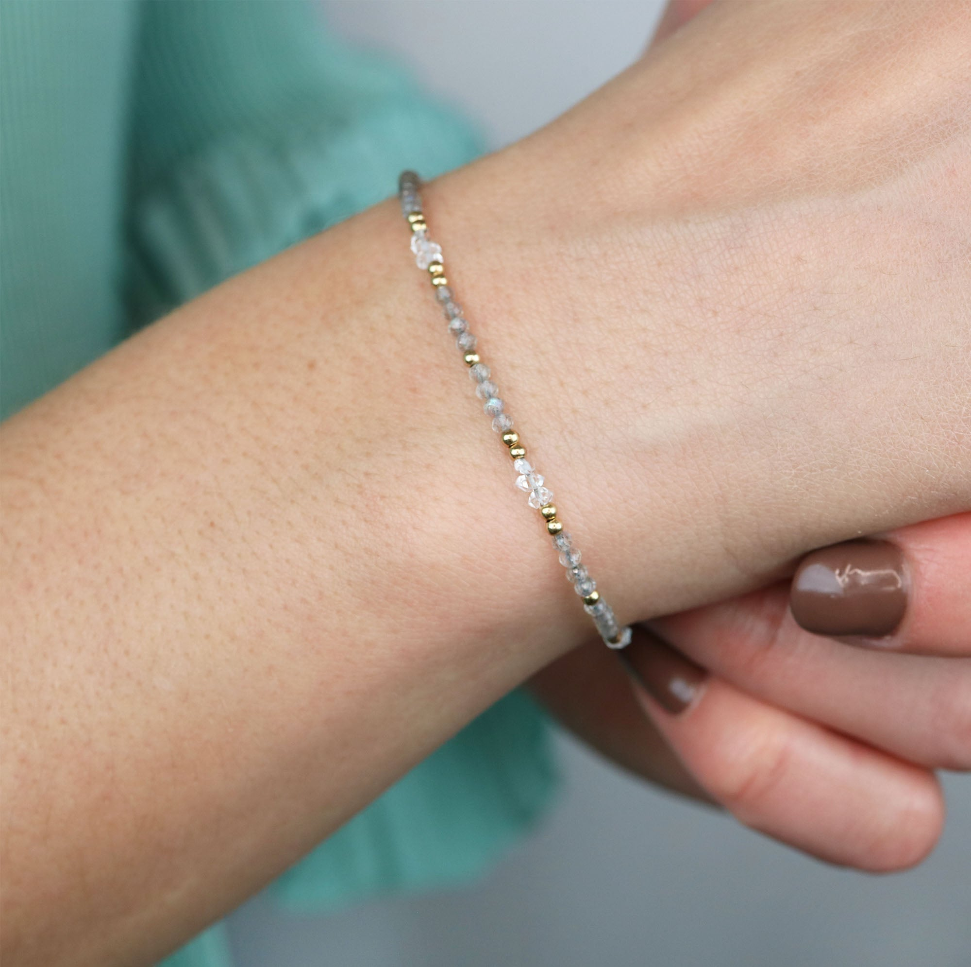 Visionary Bracelet | Herkimer Diamond and Labradorite