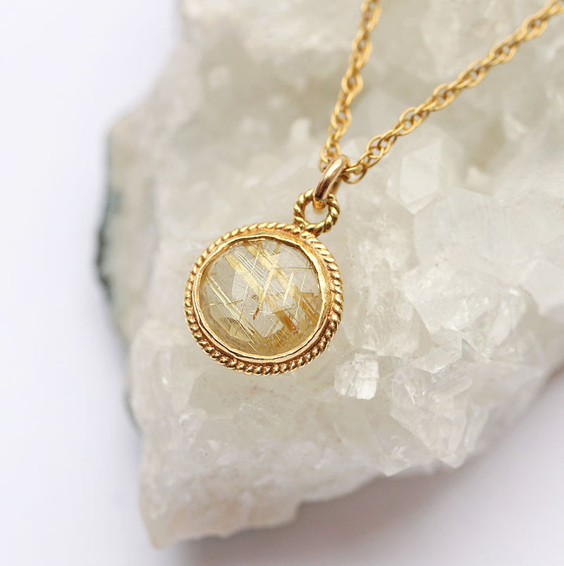 Golden Solstice Necklace | Golden Rutilated Quartz and Gold