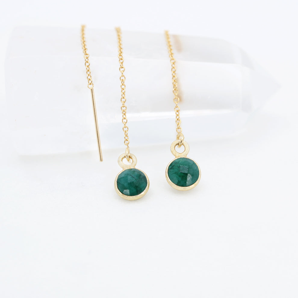 Compassion Drop Earrings | Emerald and Gold