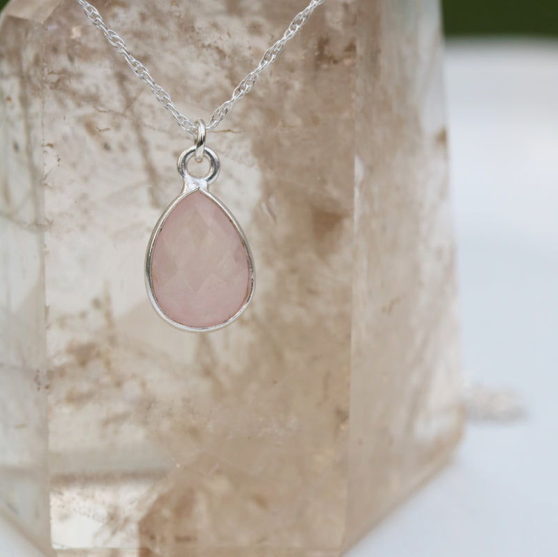 Charmed in Love Drop Necklace | Rose Quartz and Sterling Silver