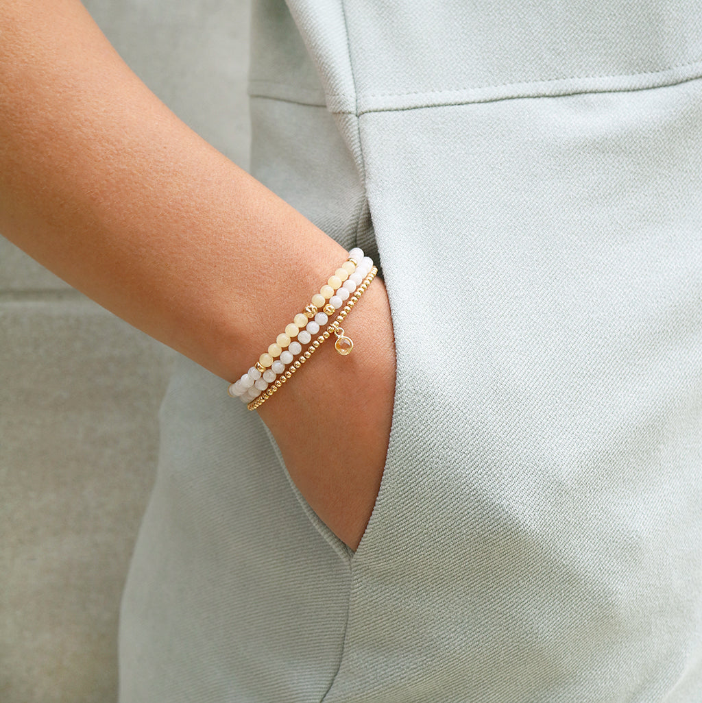 Dainty Fearless Bracelet Set | Honey Calcite, Moonstone & Citrine