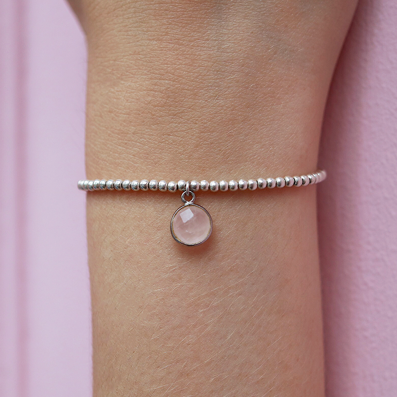 Charmed in Love Drop Bracelet | Rose Quartz and Sterling Silver