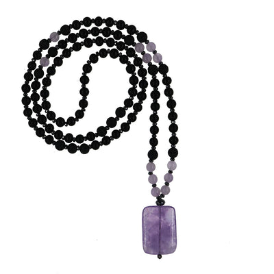 Sweet Dreamer Mala | Lavender Amethyst with Ebony and Lava