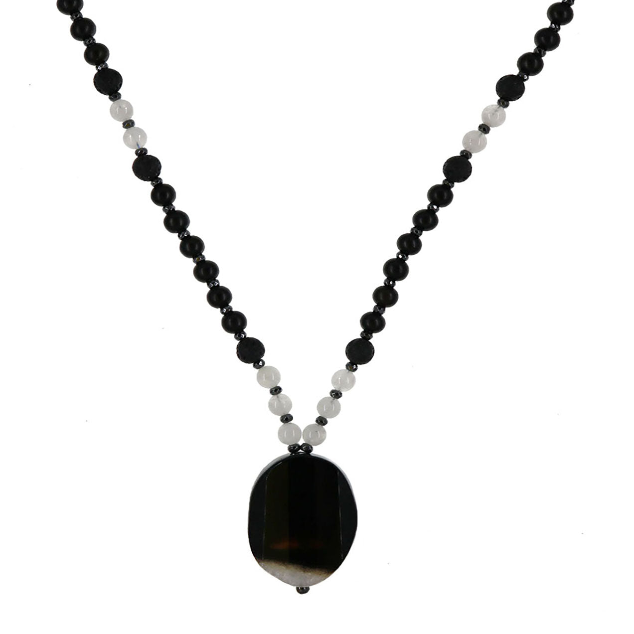 Channeling Intuition Mala | Moonstone with Black Ebony and Lava