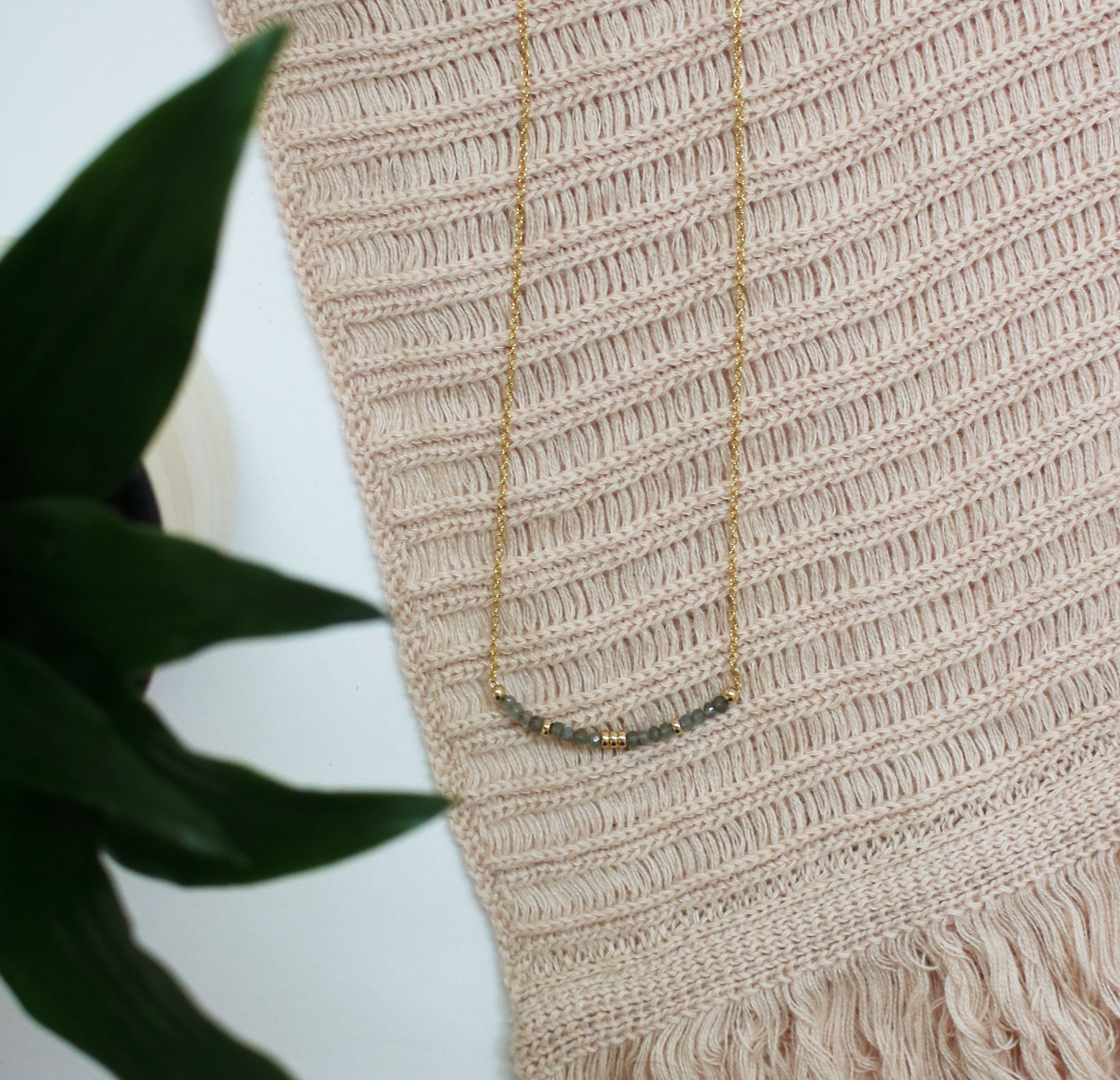 Aligned and Charmed Necklace | Labradorite and 14K Gold