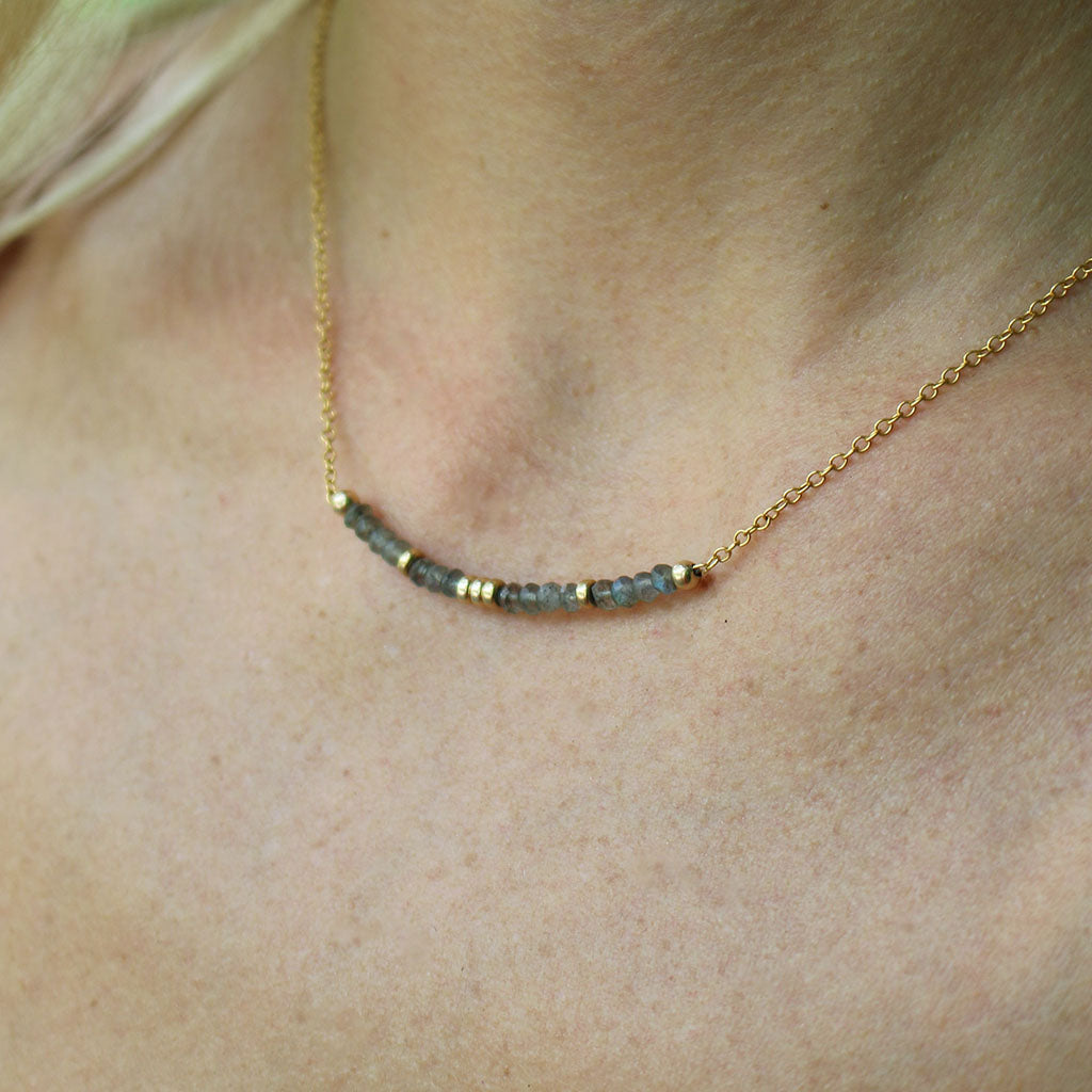 Aligned and Charmed Necklace | Labradorite and Gold