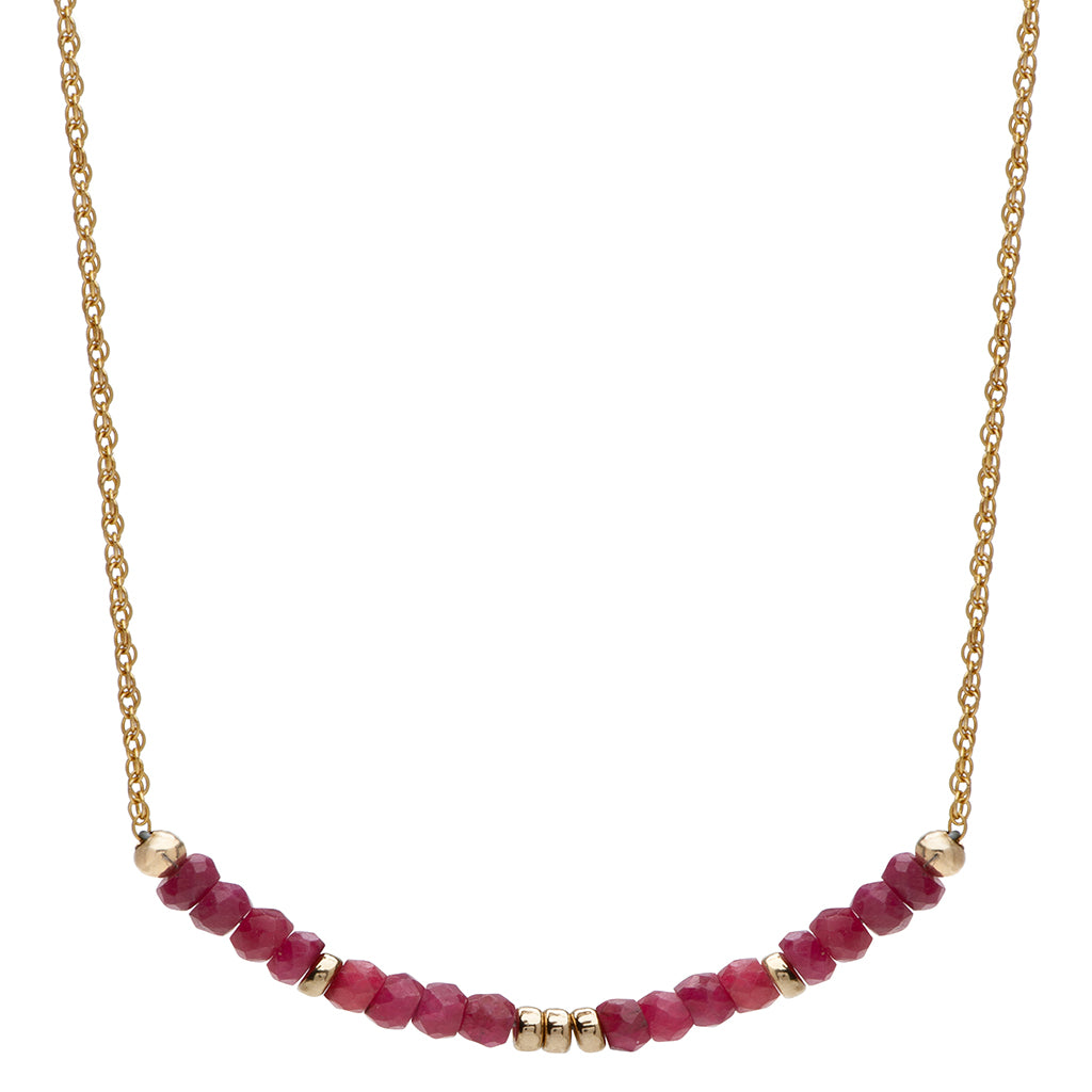 Aligned by Love Necklace | Ruby and 14K Gold