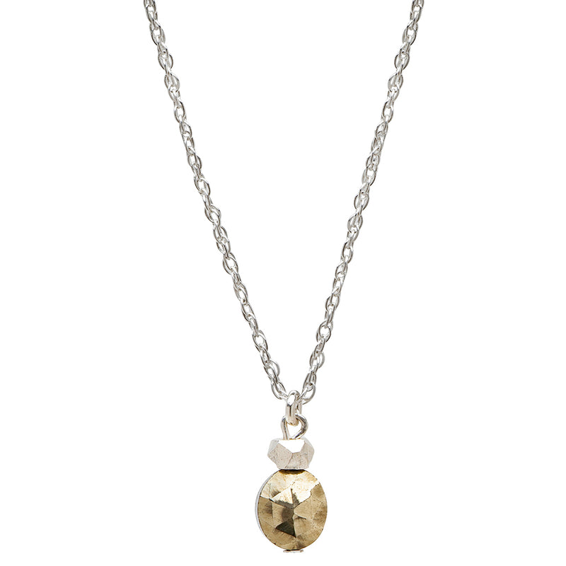 Dainty Prosperity Necklace | Pyrite and Sterling Silver