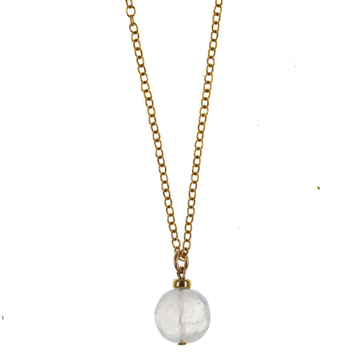 Full Moon Necklace | Moonstone and 14K Gold