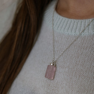 Love Magnet Necklace | Rose Quartz and 14K Gold